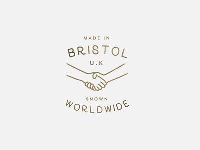 Made In Bristol minimal worldwide pride crest illustration bristol handshake gold stack logo icon badge