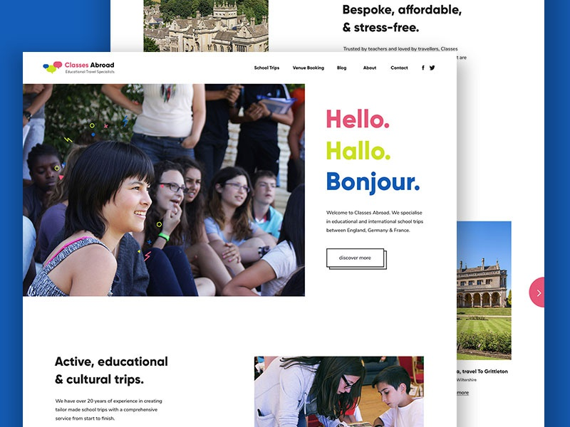 Classes Abroad Homepage school web design broken grid daily ui minimal travel education homepage website
