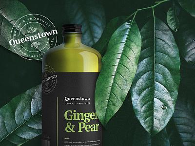 Queenstown Smoothies Hero minimal natural fruit organic healthy packaging badge logo stamp smoothie