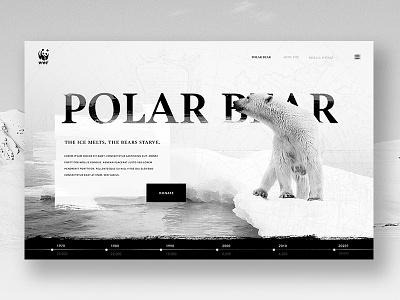 WWF Polar Bear campaign fundraiser charity white black polar bear timeline homepage website