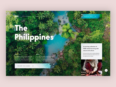 Backpack The Philippines travel web design asia desktop ui nature homepage adventure nomad backpacking