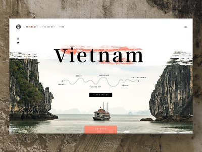 Vietnam Travel Page journey hero homepage web design ui backpacking texture map asia adventure travel vietnam