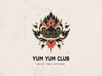 Yum Yum Club geometric illustration traditional cafe restaurant gold foiling dragon branding logo takeaway thailand