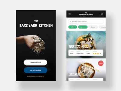 The Backyard Kitchen healthy restaurant kitchen log in ux ui concept app delivery food