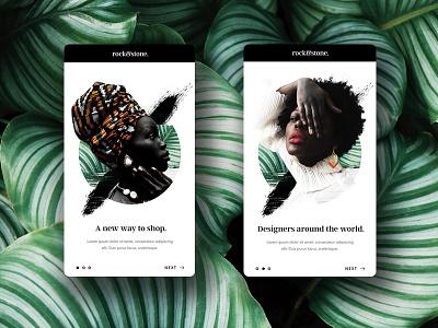Rock & Stone Onboarding Screens layout minimal online shop store fashion jewellers jewellery application onboarding app