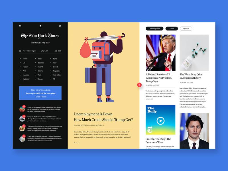 The NYT Hub news site newsfeed news app newspaper dashboard website ui web design web