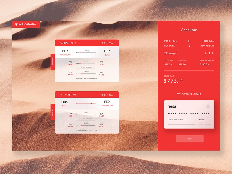 Air Canada Booking Concept ticket plane web design ui form visa payment travel booking airline