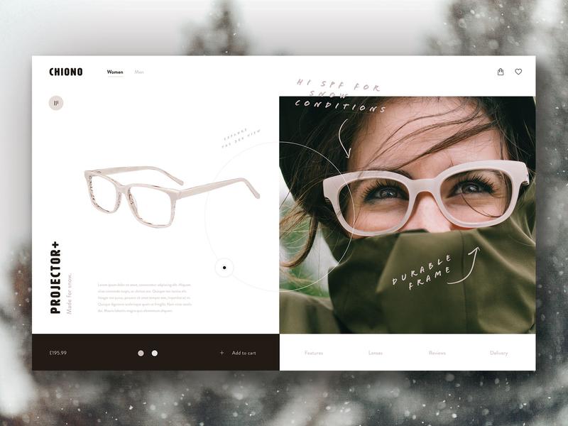 Chiono Glasses extreme sports winter online shop eccomerce web design website product page fashion retailer glasses
