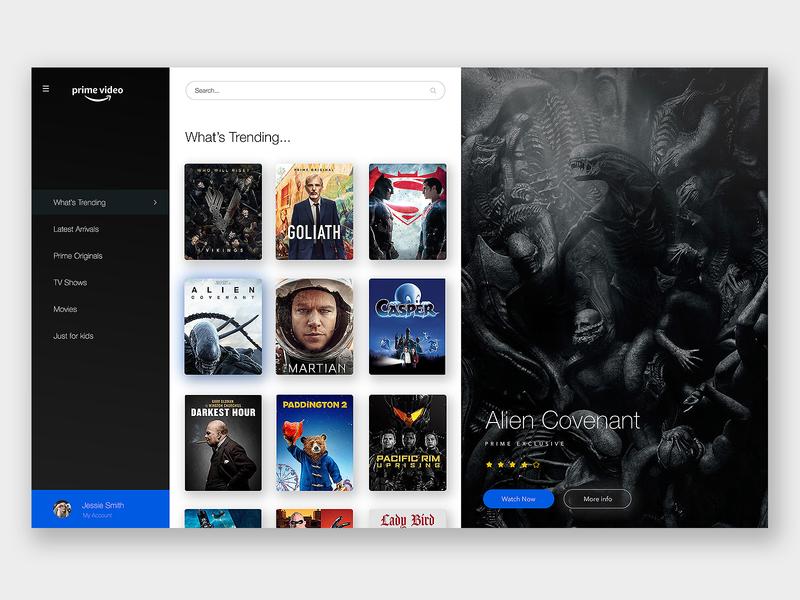 Amazon Prime Redesign trending movie alien video stream player app dashboard app dashboard interface web design ui design ui ux prime amazon