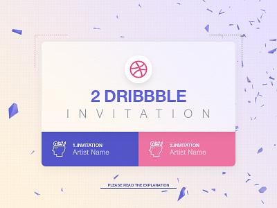 2x Dribbble Invitation help art design ticket invite me invite dribbble invitation invitation