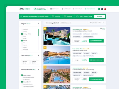Hotel Booking / Listing Page layout clean flat follow ux design tour hotel booking art green ui design booking hotel