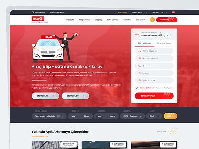 Car Auctions Ui/Ux Design flat art typography layout gradient modern red clean ux ui sale rent auctions car