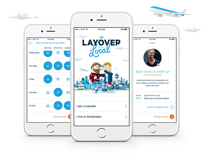 KLM - Layover with a Local - App ux ui service airline design interface app air local layover klm