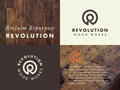 Revolution Wood Works Branding Project branding logo
