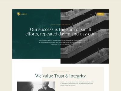 Lucrum Homepage Concept design concept branding finance minimal gold green luxury real estate web design website identity brand
