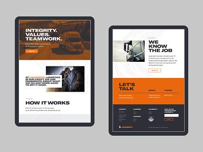 Loadsmith About Us Page UI ux ui design orange minimal blue trucker trucking logistics web design website identity brand