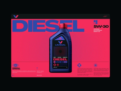 LVI Identity Diesel UI Concept branding ux ui 3d packaging acid graphic auto motor oil motor blue red website design website identity brand identity brand