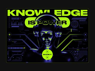Knowledge Is Power technology tech ai future identity brand identity brand acid graphic acid digital branding graphic design 3d