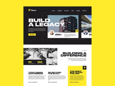 Pierce Home Page UI Concept brand branding identity identity ui ux uxui website construction design consulting yellow black bold typography layout concept branding high contrast blueprint blueprints