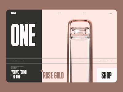 Kor Water Product UI Concept clean minimal one kor concept layout typography bold black rose gold bottle product water website uxui ux ui identity brand identity brand