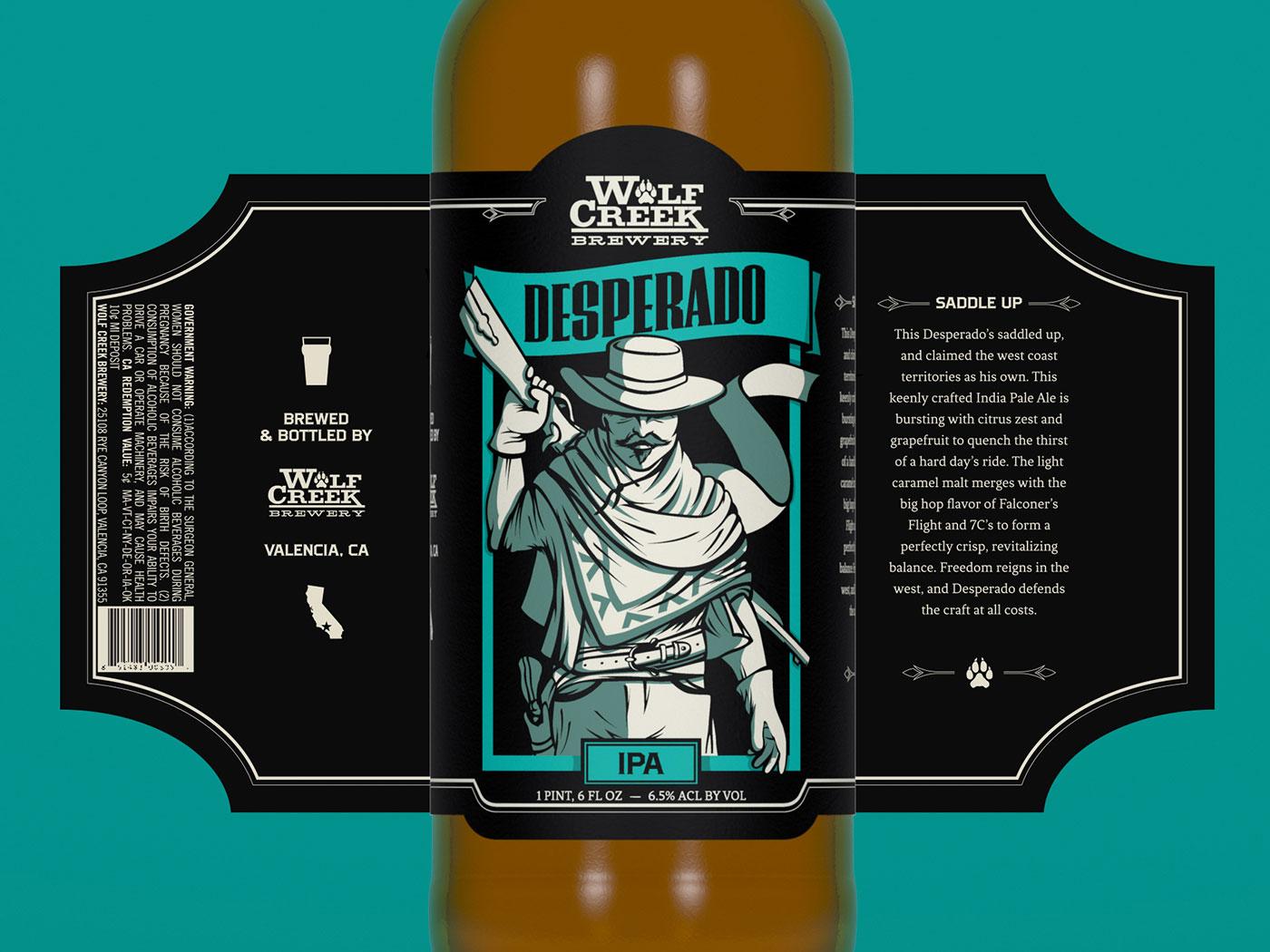 Wolf Creek Brewery - Desperado desperado bottle label craft beer ipa branding package design beer label illustration western cowboy