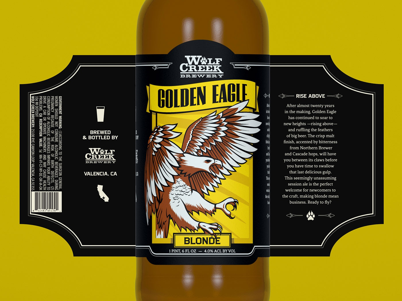 Wolf Creek Brewery - Golden Eagle beer label bottle label package design illustraion eagle blonde western branding craft beer