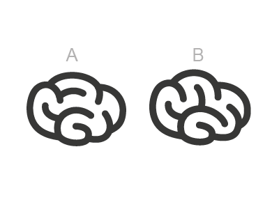 Two brains brain icon symbol logo ab testing