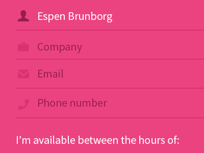 Call back form form pink icon simple