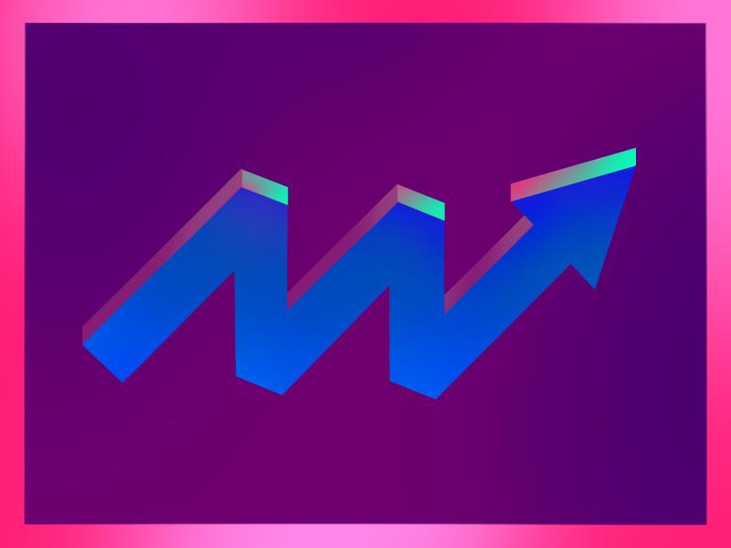 ova here - arrow exploration bold shapes 3d shading texture abstract design illustration