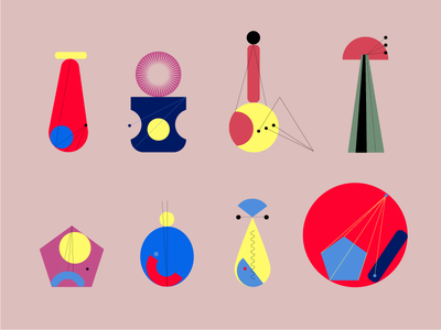Orchestra flat bold shapes abstract design illustration