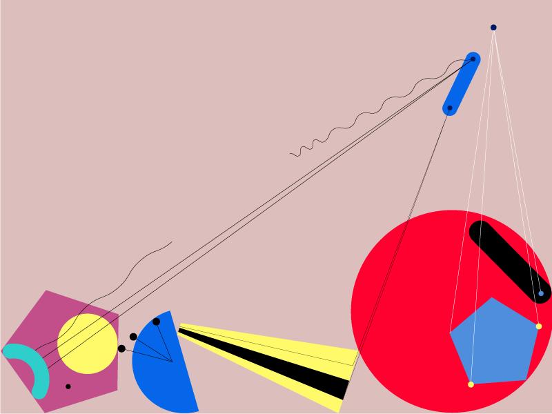 Broken Orchestra abstract flat shape colour vector design illustration