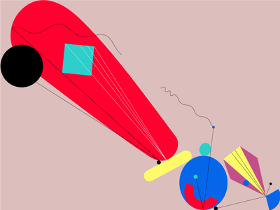 Broken Orchestra 2 flat shape colour vector abstract design illustration