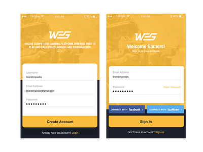 WEG - Gaming Login design web ui