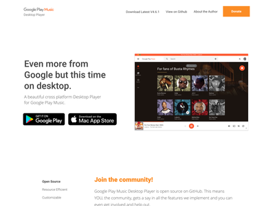 Landpage - Google Desktop Music ui website web design