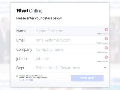 MailOnline Quiz mailonline dailymail quiz game ui flow