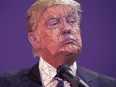 Low poly-tician president us usa politician polygon poly low trump donald