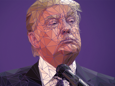 Low poly-tician president us usa politician polygon poly low trump donald