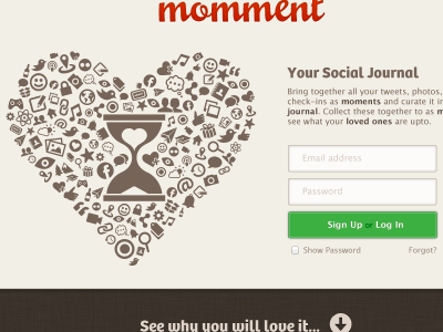 Momment A momment diary journal brown red sign up log in mousse script bree lucida grande