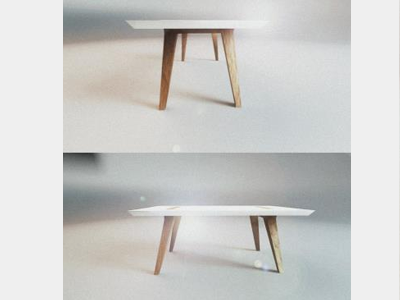 Table design front&side view table 3d industrial design