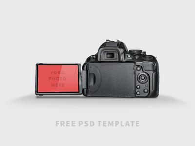 Free PSD Template - DSLR Mock-UP free psd template mock-up camera