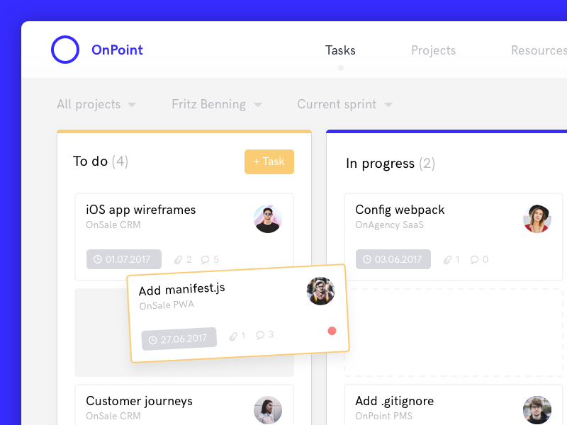 OnPoint - Kanban Board projects to do drag  drop tasks project management kanban