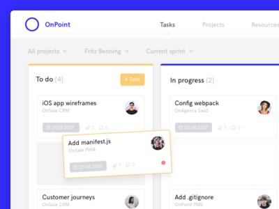 OnPoint - Kanban Board projects to do drag  drop tasks project management kanban