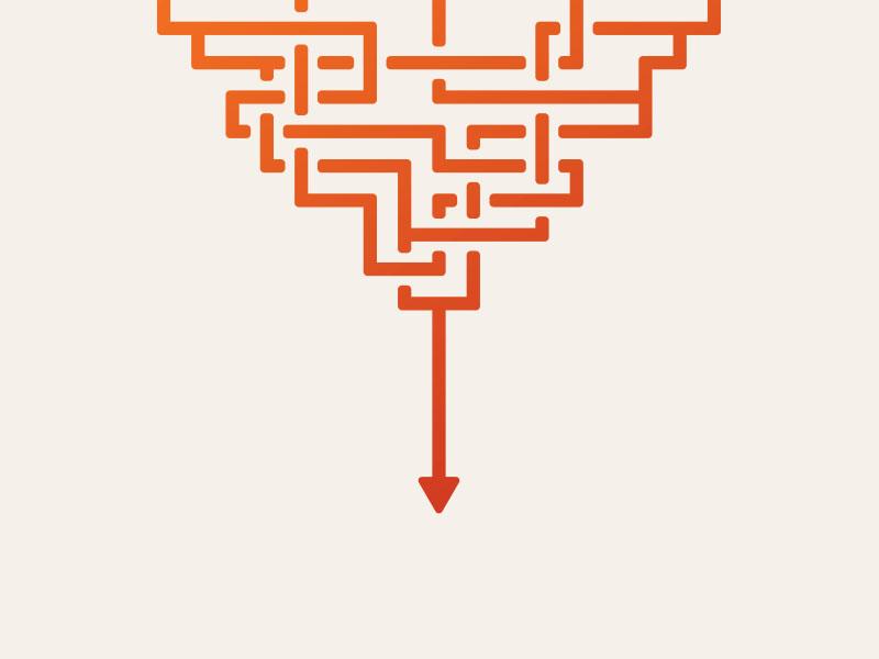 Untangled arrow single stroke illustration