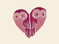 Owlove design heart custom type handlettering owl poster illustration