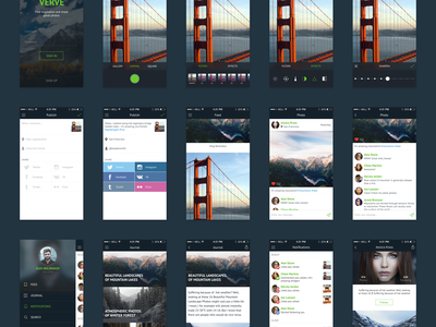 Freebie: Verve UI Kit download journal notifications feed profile photo free psd app kit ui ios