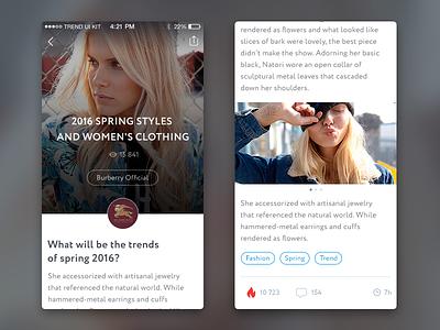 TREND UI KIT –iOS News feed freebie kit ux ui trend e-commerce fashion feed article news mobile ios