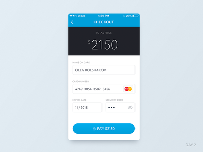 Daily UI: Day 2 – Credit Card commerce checkout ios card credit day 2 dailyui ui ux mobile