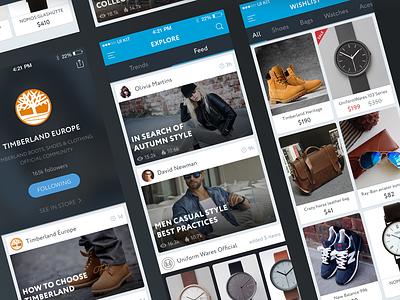 TREND UI KIT – Soon feed social shop e-commerce cart profile wishlist news ios ui ux mobile