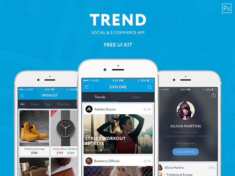 TREND –Free UI KIT items shop profile trend feed social e-commerce free kit ui mobile