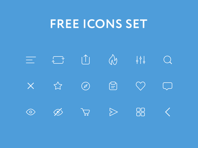 Free icons set PSD download psd mobile interface eye fire explore ux ui ios icons freebie